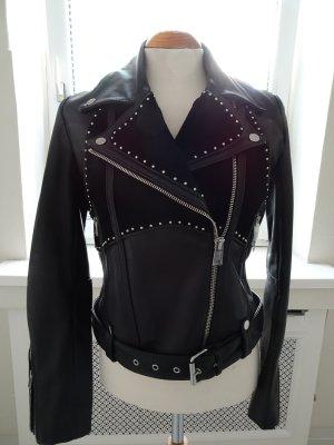 magasin en ligne f457b 832fb Claudie Pierlot Veste en cuir noir cuir