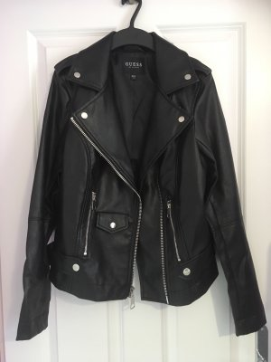 Guess Leather Jacket black-silver-colored imitation leather