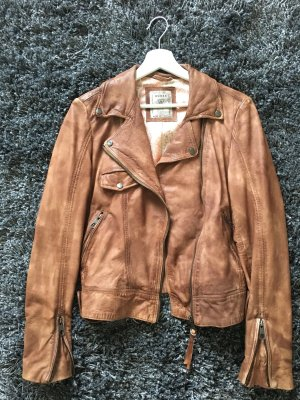 Guess Leather Jacket brown-cognac-coloured