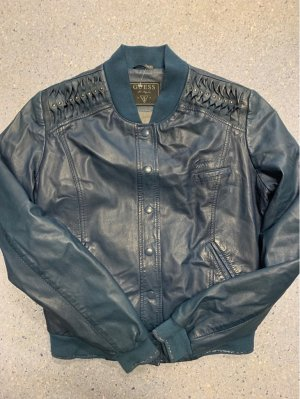 Guess Leather Jacket slate-gray