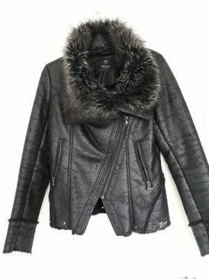 Guess Giacca in pelle nero-talpa