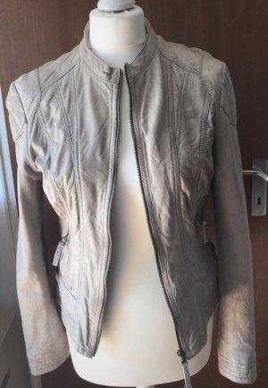 Leather Jacket oatmeal-light grey