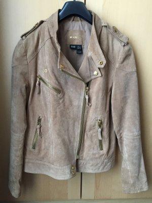 Mango Leather Jacket beige