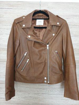 Mango Leather Jacket brown-cognac-coloured