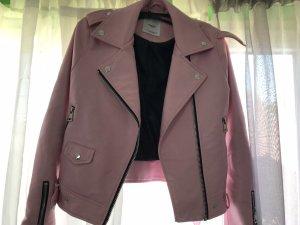 Mango Leren jack roze