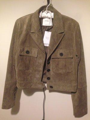 Lederjacke von Mango khakifarben butterweich Vintage Style *Neu*