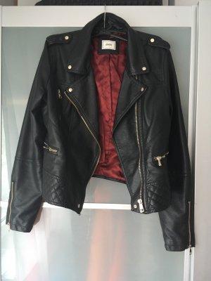 Pimkie Faux Leather Jacket black-dark red