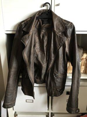 Zara Veste en cuir brun foncé-brun