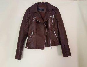 Zara Veste en cuir brun-cognac