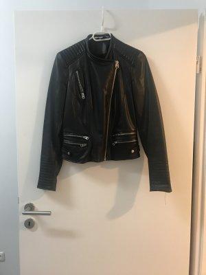 Zara Basic Veste en cuir noir