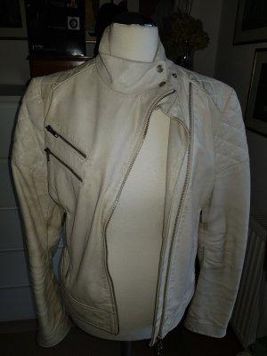 Zara Veste en cuir blanc-beige clair cuir