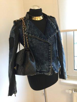 Lederjeansjacke mit Nieten studded Jeans Leder Gold neu