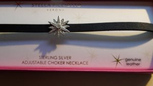 Lederkette, Kropfband Leder und Silber mit Swarovski-Kristallen