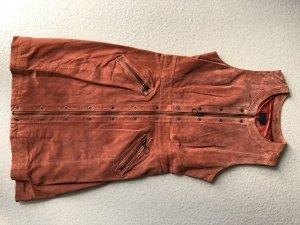 Pepe Jeans London Leren jurk donker oranje-roodbruin