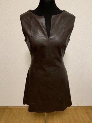 Zara Leren jurk donkerbruin Imitatie leer