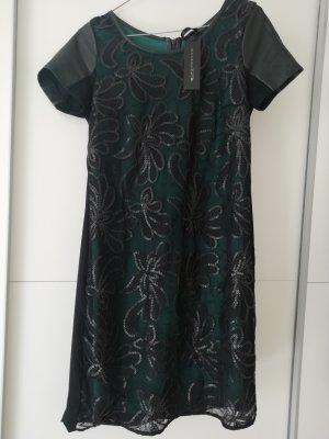Expresso Leren jurk zwart-bos Groen