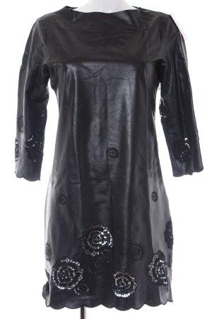 Lederkleid schwarz florales Muster Casual-Look