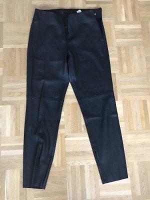 Zara Basic Pantalone in pelle nero Finta pelle