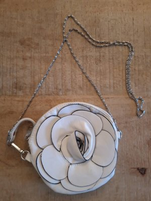 Lederlook / Lederimitat Umhängetasche Weiße Rose