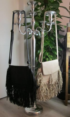 Gekruiste tas zwart-licht beige