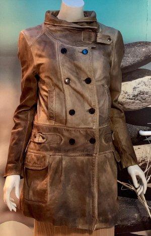 Jagger & evans Manteau en cuir gris vert