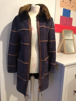 Cappotto in pelle blu scuro-marrone