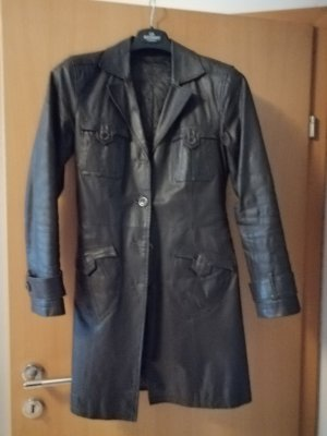 Leather Coat brown-dark brown