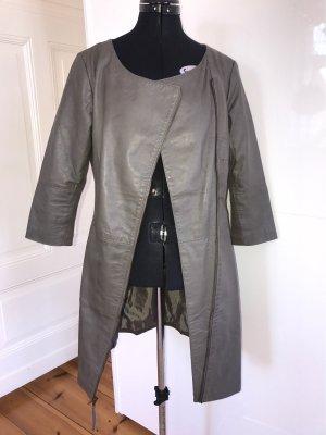 Transmission Manteau en cuir gris anthracite-kaki