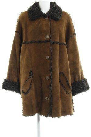 Manteau en cuir brun-brun noir élégant