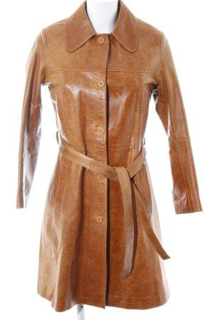 Leather Coat cognac-coloured simple style