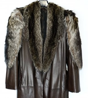 Cappotto in pelle marrone scuro Pelle