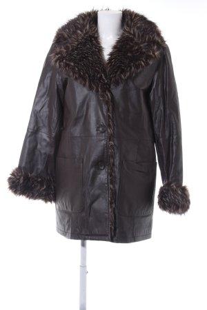 Leather Coat dark brown vintage look