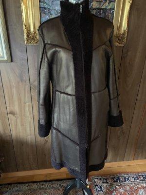 Blue Strenesse Abrigo de cuero color bronce-marrón oscuro