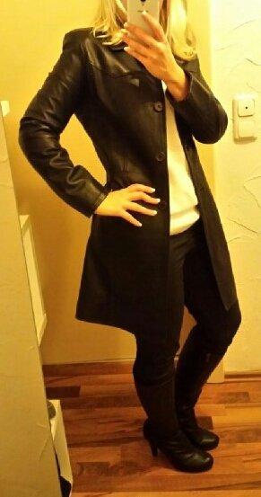 Vera Pelle Manteau en cuir noir