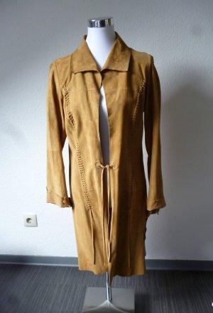 Virmani Abrigo de cuero marrón claro