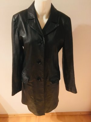 Jones Manteau en cuir noir