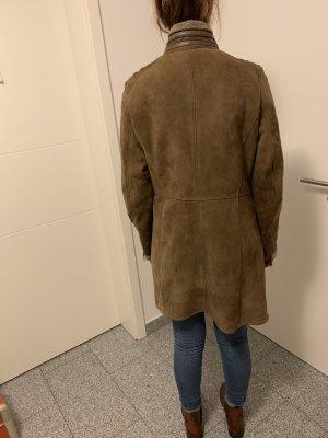 mabrun Manteau en cuir marron clair
