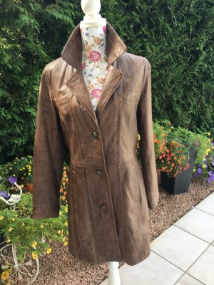 David Moore Leather Coat multicolored