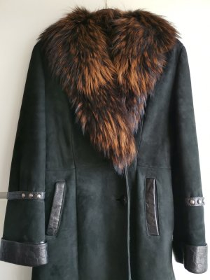 Leather Coat black-brown