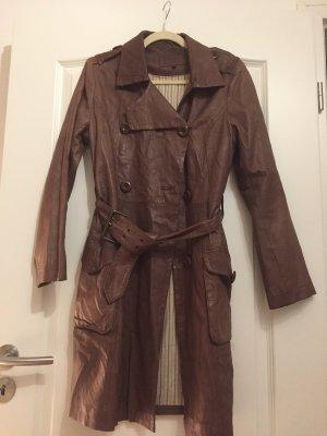 Pepe Jeans London Manteau en cuir brun