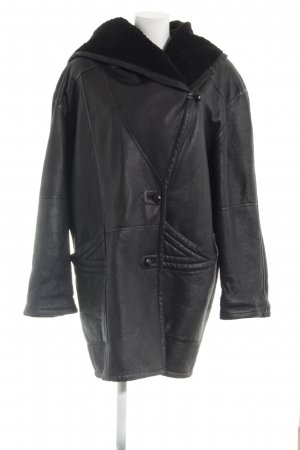 Leather Coat black casual look