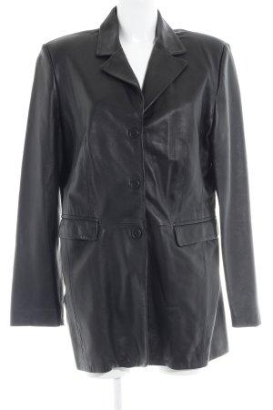 Abrigo de cuero negro estilo clásico