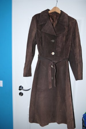 Leather Coat dark brown leather