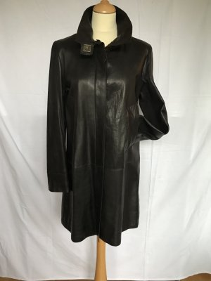 Leather Coat brown violet leather