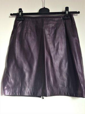 Marc Cain Leather Skirt dark violet leather