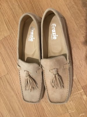 Moccasins beige leather