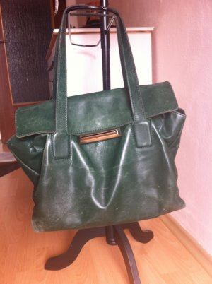 Lederne Handtasche grün Echtleder Shopper Bag Zara