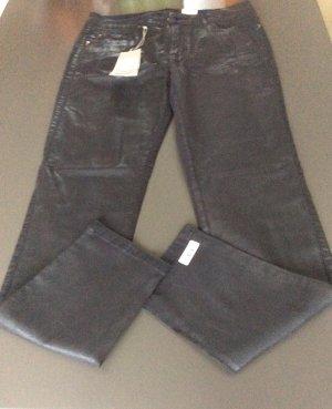 Lederoptik Changierende schmale Hose