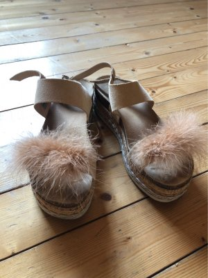 Sandalo con plateau color carne-beige Pelle