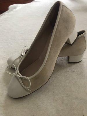 Bailarinas con tacón Mary Jane blanco puro Cuero